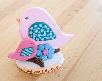 Mommy and Baby Birdie Keepsake Cake Topper - Baby Shower