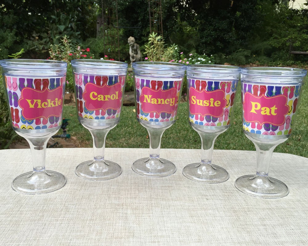 Personalized Wine Glass Sets Girls Weekend Gift Or Bridesmaid