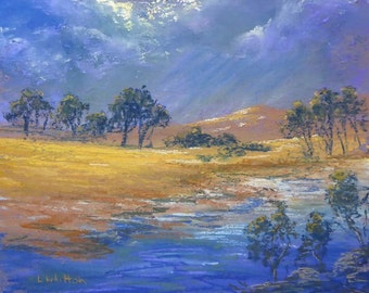 Pastel painting on sanded paper. Stormclouds. Yellow, blue.  Original painting. Landscape painting. Fine art.