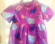 "5-6 DRESS ""Frozen Sisters"" NIGHTGOWN or DRESS, with Elsa & Anna! Short, Loose Sleeves. Handmade By Nanny!"