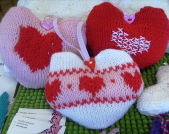 three Valentine hearts, embroidered and fair isle knitted