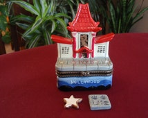 CeramicTrinket Box Graumans Chinese Theater Pagoda Hollywood Walk of Fame Star and Handprints Collectible Souvenir L1566