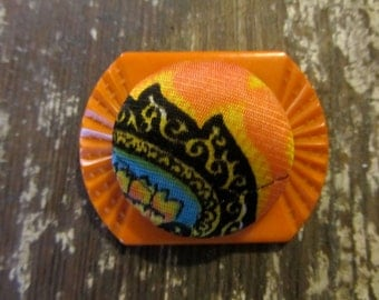 Halloween-Recycled Vintage Button Brooch
