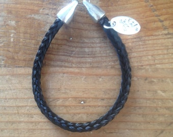 Square braided horse hair bracelet with name label