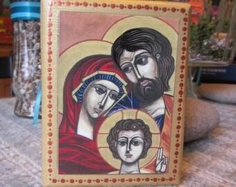 "Holy Family - Print of an original watercolor painting on a cedar wood block (4""L x 5 1/4""H x 1 1/2"" W) = art block - home decor"