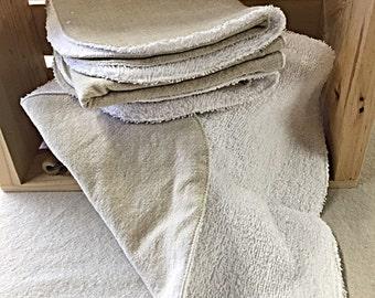 Set of 4 Linen/Terry Cloth Wash Cloths