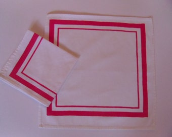 11 inch square set of 2 retro red and white printed handkerchiefs.