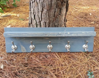 Rustic Modern Coat Rack With Floating Shelf - River Stone Stain