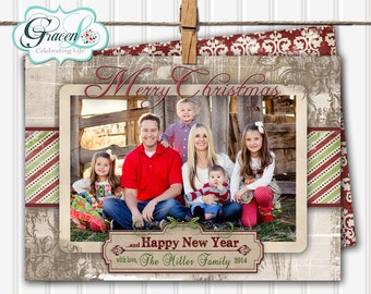 Rustic Wood Holiday Card rustic multi photo Christmas card