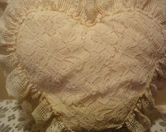 Valentines Heart Pillow/All Handmade Lace Pillow/Handmade/Vintage Decor/Home Decor/Textile/Sewing/Handmade
