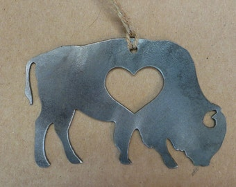 Buffalo Rustic Christmas Ornament Metal Bison Heart Christmas Tree Decoration Holiday Gift Industrial Decor Wedding By BE Creations