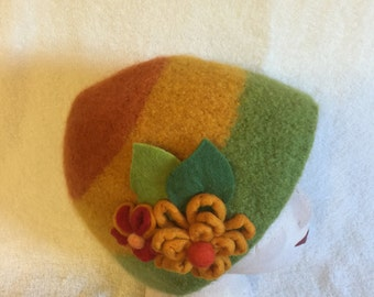 Womens orange, yellow and sage green wool felted hat with flowers and leaves