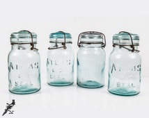 """Set of 4 Large Atlas E-Z Seal Aqua Pale Blue Collectible 7 1/2"""" Tall Glass Canning / Mason Jars Glass Lids Rustic Metal Wire Bail Closure"""