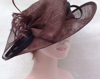 Fancy Medium Brim Kentucky Derby Floppy Slant Top Bucket with Flowers  Millinery Church  Hat