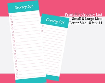 Printable Grocery List - Portrait (8.5  x 11) and Landscape (11 x 8.5 ). PDF Grocery Shopping Planner - Blue & Pink