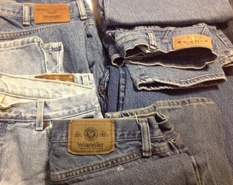 One Pair Craft Denim Fabric Jeans Sewing Reuse Repurpose Recycle Upcycle Similar to Photo
