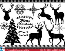 Christmas deers (black) Set Clipart - Digital Clip Art Graphics, Personal, Commercial Use - winter holiday deer (00039)