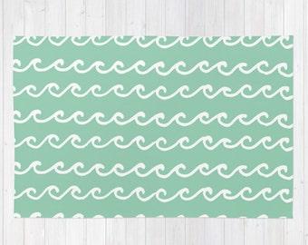 Seafoam Area Rug, Mint Rug, Green Rug, Ocean Waves Modern Rug 2x3, Beach Rug , Nautical Decor Rug 3x5, woven rug