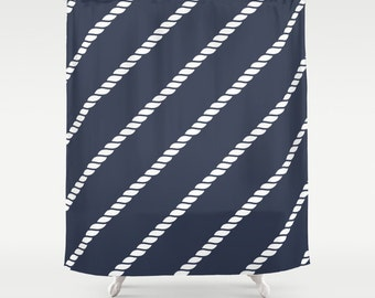 navy shower curtain, 45 colors Nautical Curtain, nautical rope decor, beach shower curtain, nautical bathroom decor, boating shower curtain