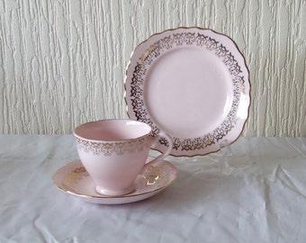 Vintage Art Deco Colglough Pink Bone China Tea Trio