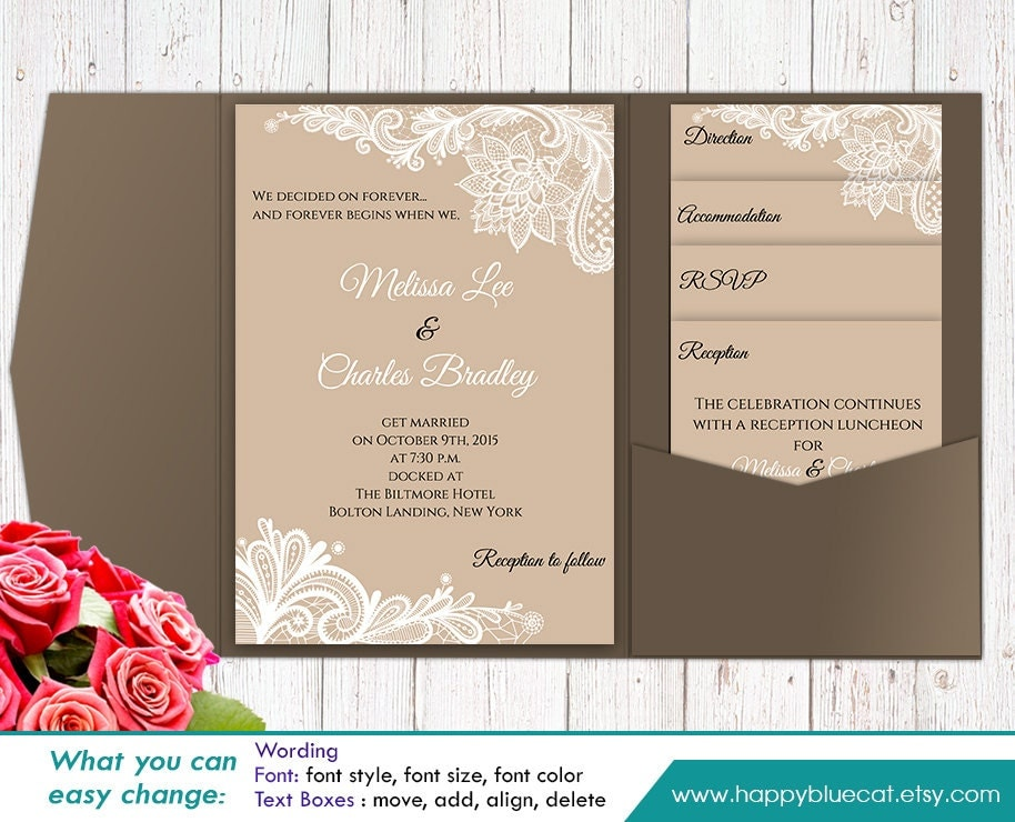 Diy printable pocket wedding invitation template set instant for Diy pocket wedding invitations tutorial