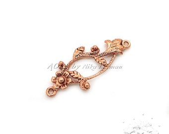 1 pcs Copper Flower Pendant/Connector with Two Loops, Made in Israel, Total Size 28x11mm, code2356CO