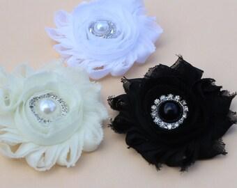 Ivory flower hair clips, ivory flower girl hair bow, girls ivory hair bow, toddler ivory hair accessory, toddler hairbows hair accessory