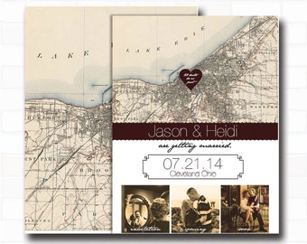 Customized Rustic Vintage Cleveland Wedding Map Save The Date