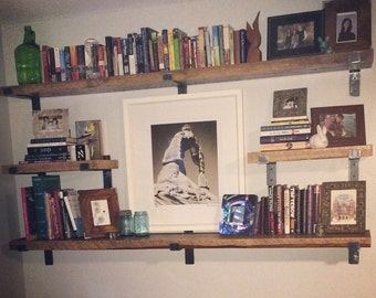 """70"""" x 9.5"""" Reclaimed Wood Shelf with Two Handcrafted Metal Shelf Brackets (can be customized)"""