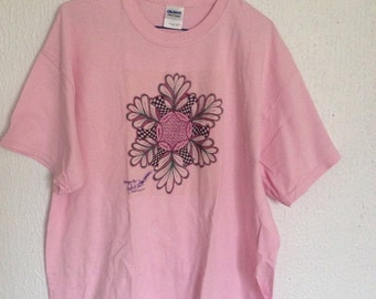 T-shirt, pink, Hand designed, zentangle,  s m or lg available