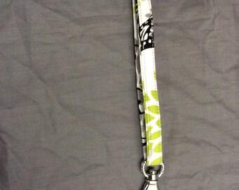 Fabric Wristlet Key Fob Keyring Keychain Green Floral Fabric Keyfob