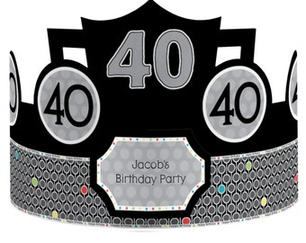 Custom Party Hats - Birthday Party Hats - 40th Birthday Party Supplies - 8 Count