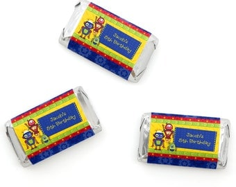 20 Robots Mini Candy Bar Wrappers - Personalized Baby Shower and Birthday Party Supplies