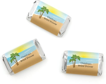 Beach Mini Candy Bar Wrappers - Personalized Bridal Shower & Wedding Hershey® Miniature Candy Bar Sticker Labels - 20 Ct