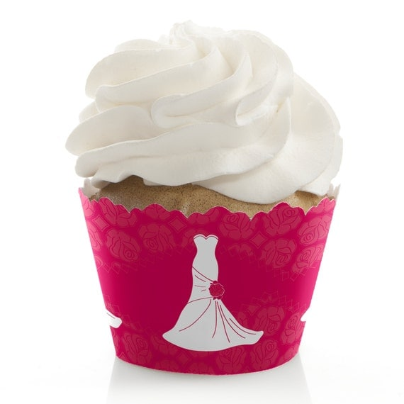 Wedding Dress Pink Cupcake Wrappers