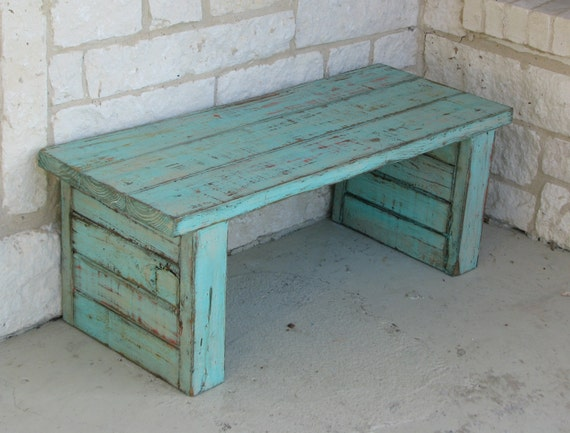 Items Similar To Coffee Table Bench Or Side Table In Aqua Color Pop On Etsy