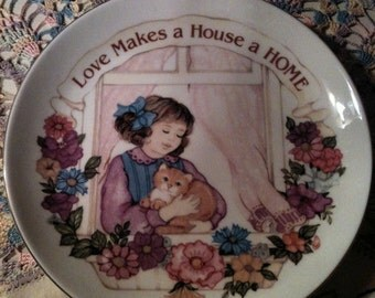 Heirloom Editions by Paula Porcelain Gold Rimmed Collector's Plate 'Love Makes a House a Home""