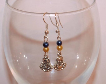 Beautiful buddha charm and glass pearl earrings
