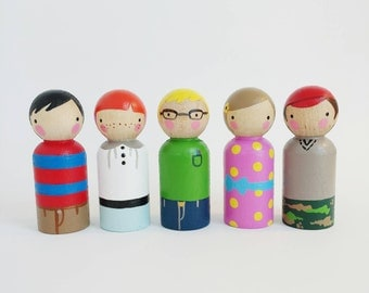 5 peg dolls with a felt sleeping bag // peggies & ollies mixed // wooden peg dolls- wooden toys