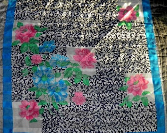 Vintage Scarf from Italy with Pink and Blue Flowers.