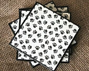 "Ceranic Tile - ""PAW PRINTS "" Coaster Set"