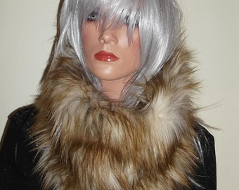 Snood Scarf in Luxurious 60mm Faux Fur in Gingery Brown Tones with Silvery Beige Highlights