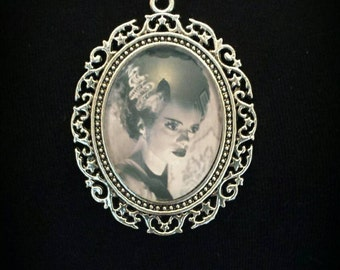 Ladies Large Pendant Bride Of Frankenstein Silver Plated Necklace