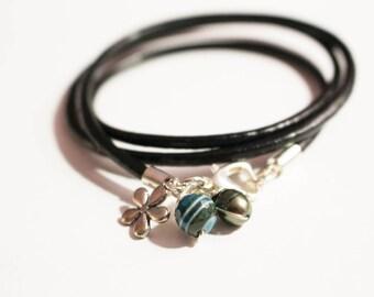 Multi strand leather bracelet, agate, pearl, charm