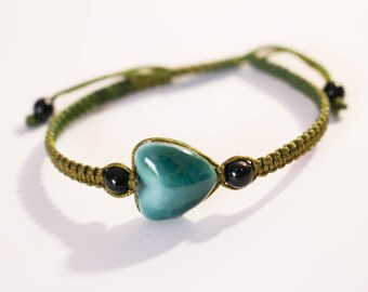 Macrame braided bracelet with porcelain heart, teal colour