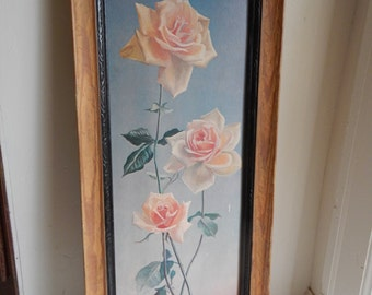 Lovely Tall Shabby Chic Vintage Rose Picture!