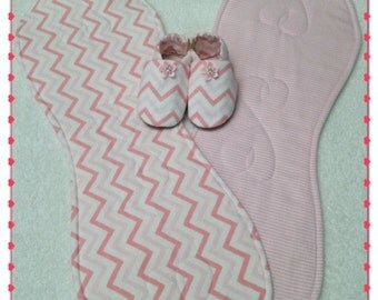 Baby Burp Cloth, Baby Burp Pad and Baby Booties, Set of 2, Flannel & Fleece, Pretty in Pink