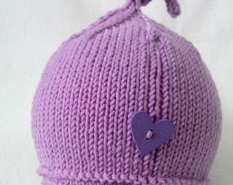 Knitted knotted baby hat/ handmade hat/ knit merino baby hat with heart button