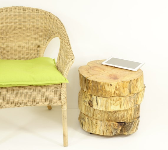 Tree slabs side table Wooden slices table on by FreeTreeStudio