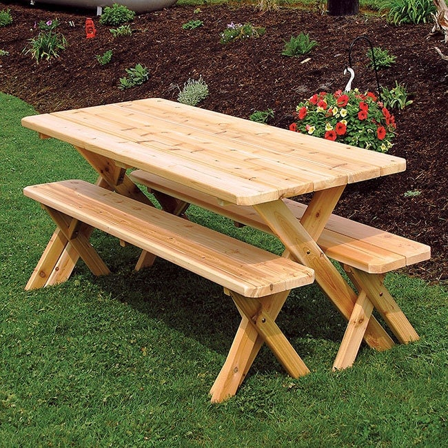 Red cedar crossleg 4ft picnic table set for Cross leg table plans